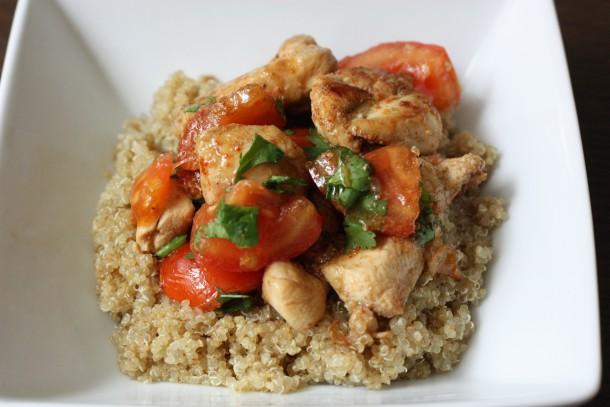 Poulet au soja, coriandre et quinoa