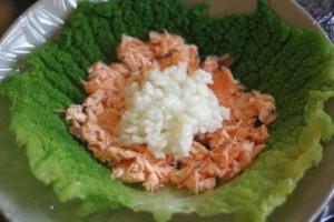 Farcir le chou au saumon