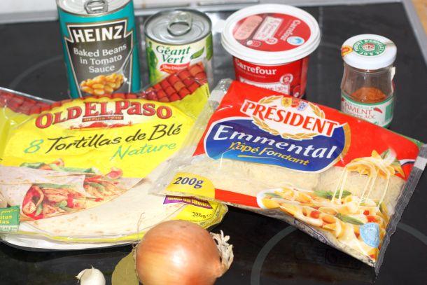 Beans Heinz, Maïs Géant vert, crème carrefour, Tortillas de blé Old El Paso, fromage rape president, oignon et ail