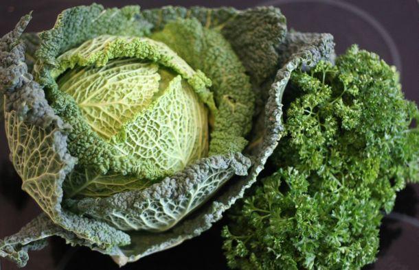 Legumes frais : un chou et du persil pour la sauce du saumon