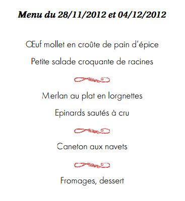 Menu école ferrandi restaurant d'application