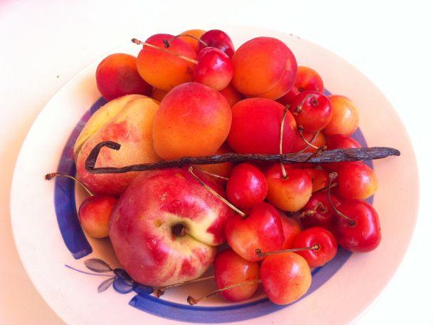 Confiture abricot nectarine cerise vanille